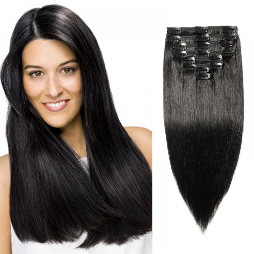 Clip In Remy Hair Extensions #1 Dark Black