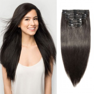 Clip In Remy Hair Extensions #1B Natural Black