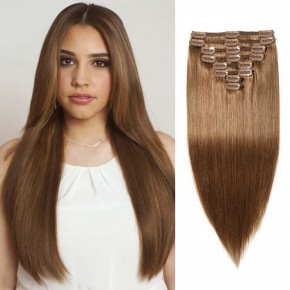 Clip In Remy Hair Extensions #6 Light Brown