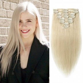 Clip In Remy Hair Extensions #60 Platinum Blonde