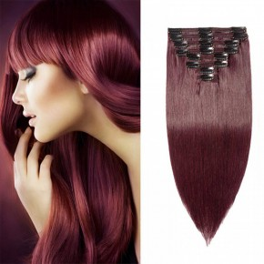 Clip In Remy Hair Extensions#99J Wine Red
