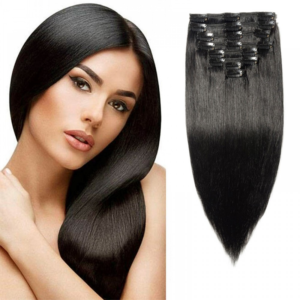 "160g 20"" Clip In Remy Hair Extensions #1Dark Black"