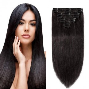 "160g 20"" Clip In Remy Hair Extensions #1B Natural Black"