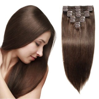 "160g 20"" Clip In Remy Hair Extensions #2 Dark Brown"