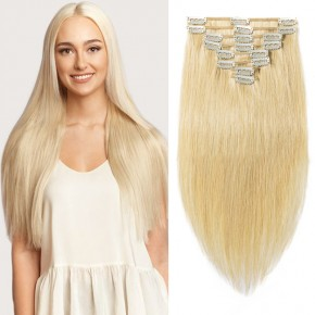 "160g 20"" Clip In Remy Hair Extensions #24 Ash Blonde"