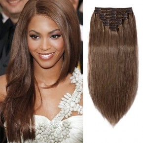 "160g 20"" Clip In Remy Hair Extensions #30 Light Auburn"