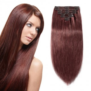 "160g 20"" Clip In Remy Hair Extensions #33 Dark Auburn"