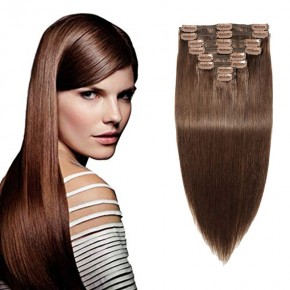 """160g 20"""" Clip In Remy Hair Extensions #4 Medium Brown"""