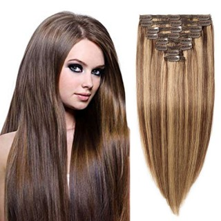 "160g 20"" Clip In Remy Hair Extensions #4/27"
