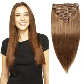 "160g 20"" Clip In Remy Hair Extensions #6 Light Brown"