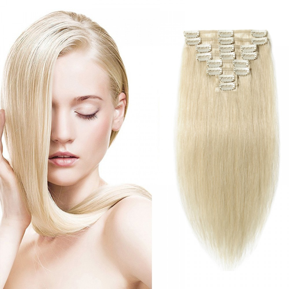 "160g 20"" Clip In Remy Hair Extensions #60 Platinum Blonde"
