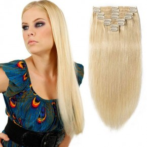 "160g 20"" Clip In Remy Hair Extensions #613 Bleach Blonde"