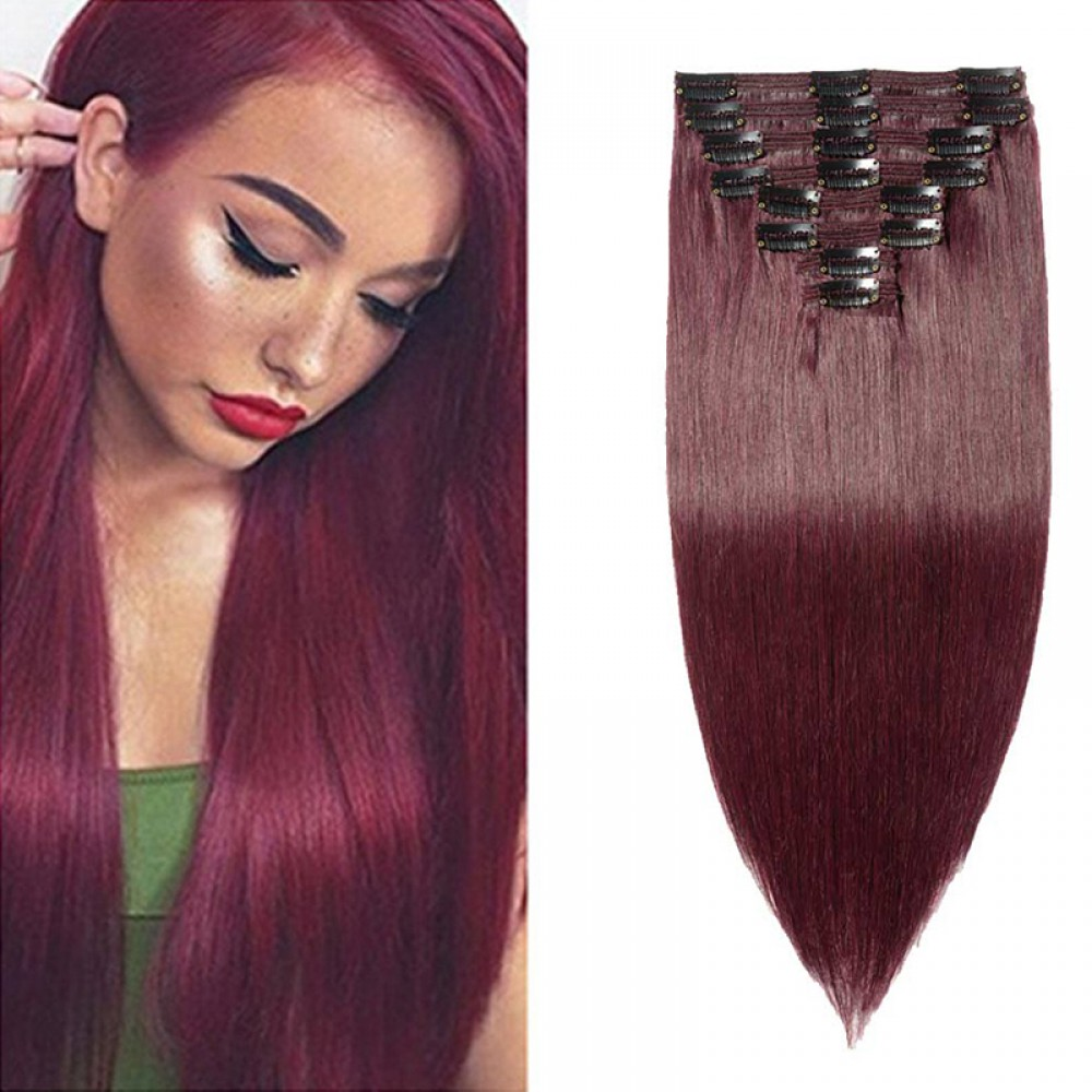 """160g 20"""" Clip In Remy Hair Extensions #99J Wine Red"""