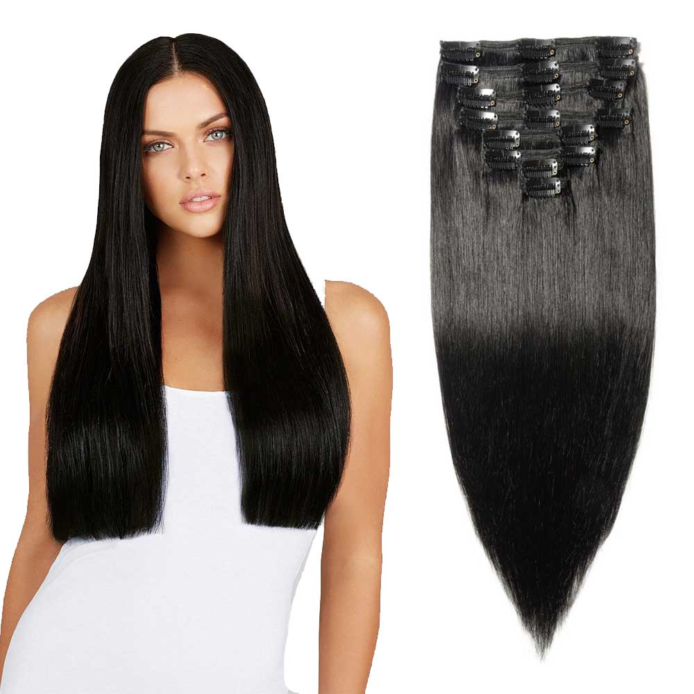 "180g 22"" Clip In Remy Hair Extensions #1 Dark Black"