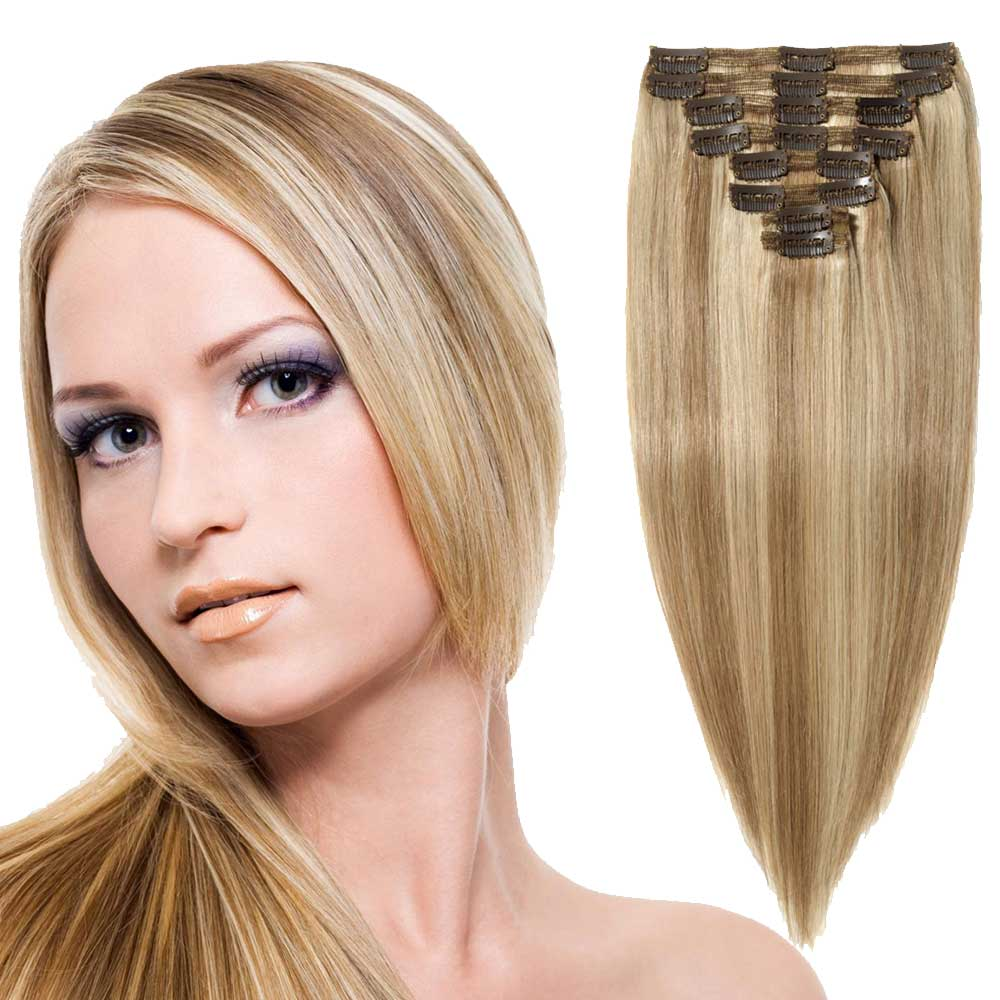 """180g 22"""" Clip In Remy Hair Extensions #18/613"""