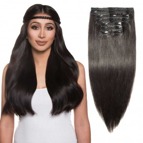 "180g 22"" Clip In Remy Hair Extensions #1B Natural Black"