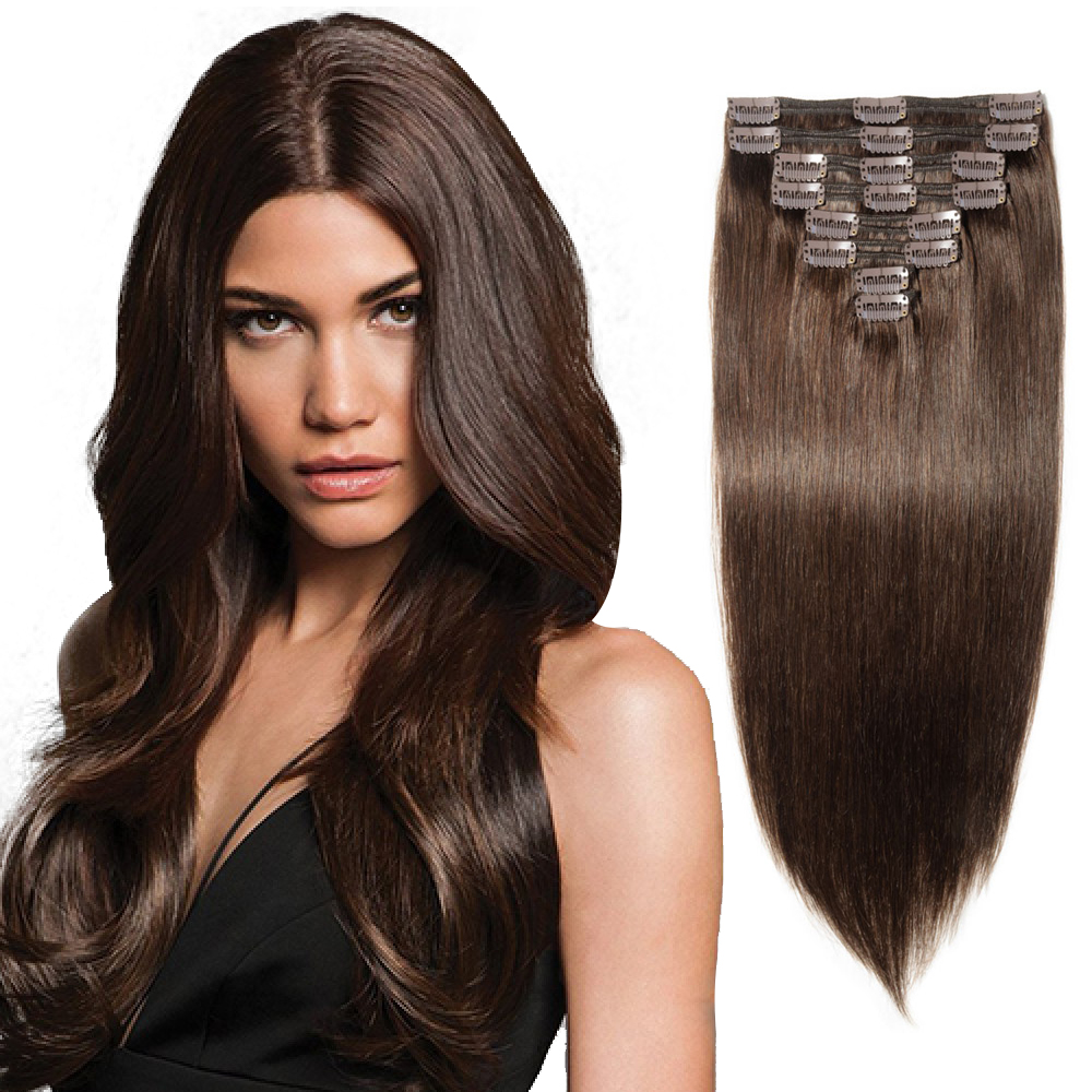 """180g 22"""" Clip In Remy Hair Extensions #2 Dark Brown"""