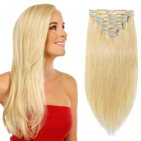 "180g 22"" Clip In Remy Hair Extensions #24 Ash Blonde"