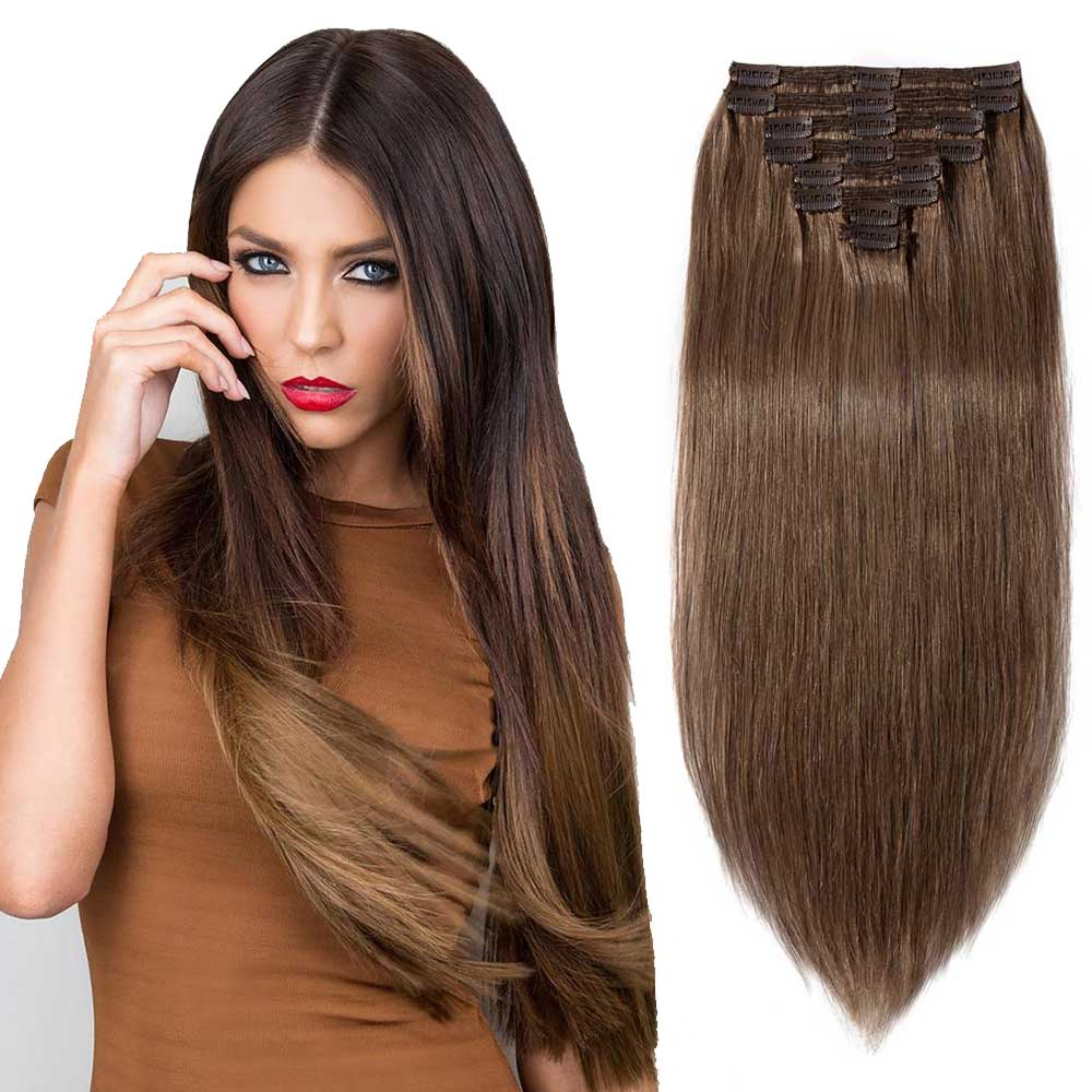 """180g 22"""" Clip In Remy Hair Extensions #30 Light Auburn"""