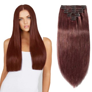 "180g 22"" Clip In Remy Hair Extensions #33 Dark Auburn"