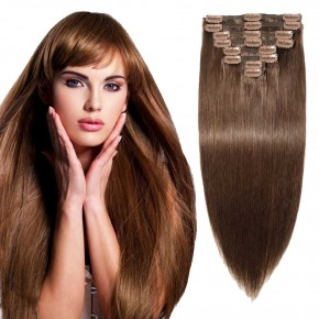 """180g 22"""" Clip In Remy Hair Extensions #4 Medium Brown"""