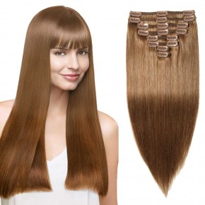 """180g 22"""" Clip In Remy Hair Extensions #6 Light Brown"""