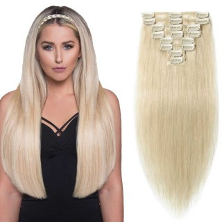 "180g 22"" Clip In Remy Hair Extensions #60 Platinum Blonde"