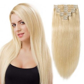 "180g 22"" Clip In Remy Hair Extensions #613 Bleach Blonde"