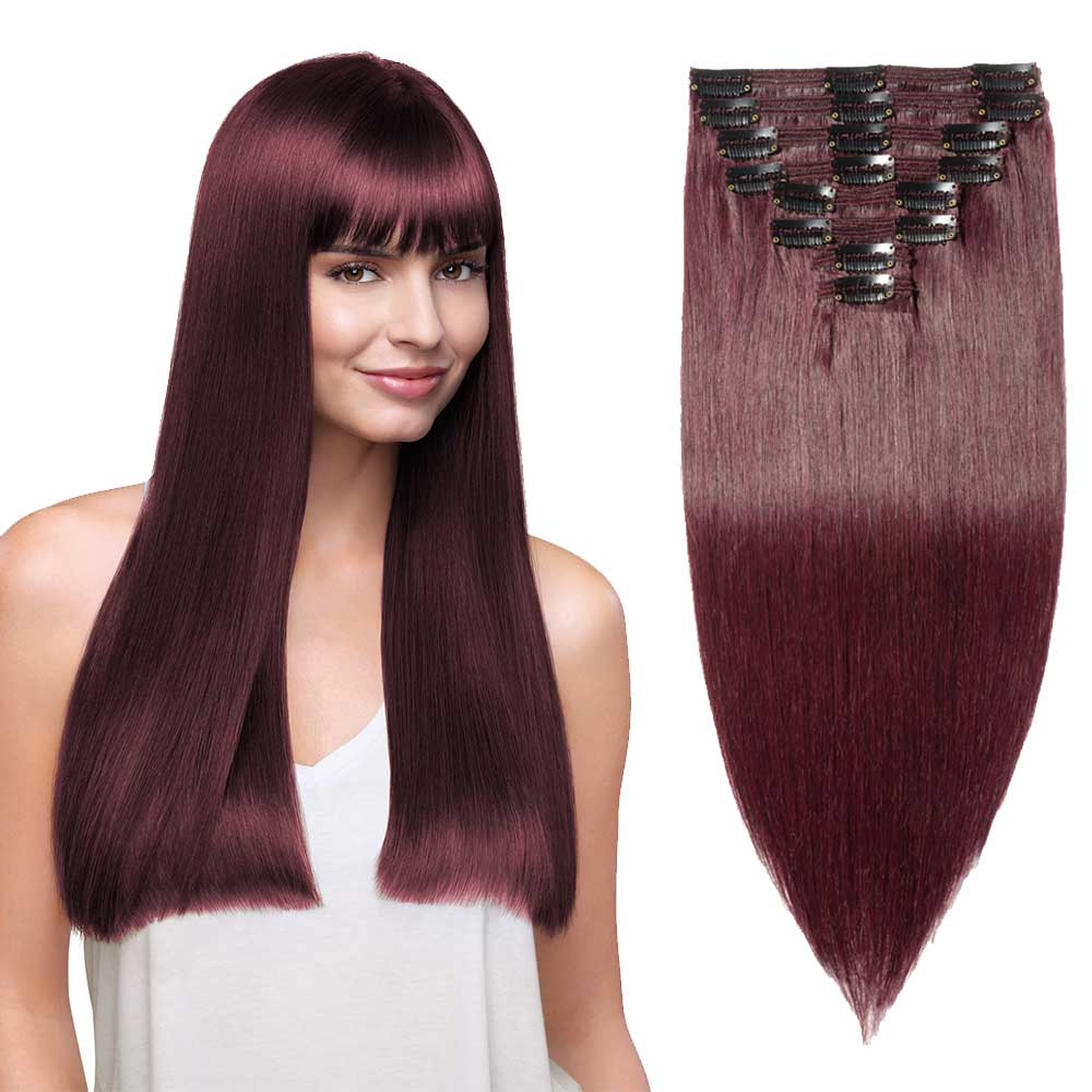 "180g 22"" Clip In Remy Hair Extensions #99J Wine Red"