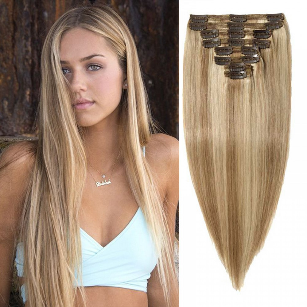 """240g 24"""" Clip In Remy Hair Extensions #18/613"""