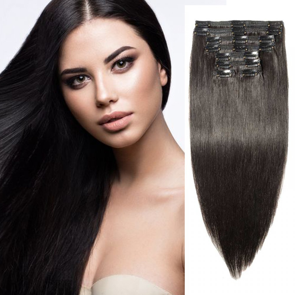 """240g 24"""" Clip In Remy Hair Extensions #1B Natural Black"""