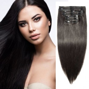 "240g 24"" Clip In Remy Hair Extensions #1B Natural Black"