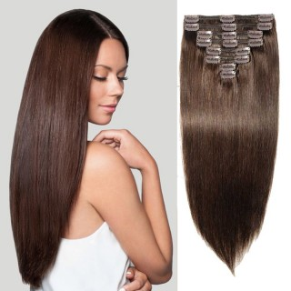 "240g 24"" Clip In Remy Hair Extensions #2 Dark Brown"