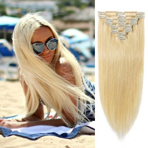"240g 24"" Clip In Remy Hair Extensions #24 Ash Blonde"