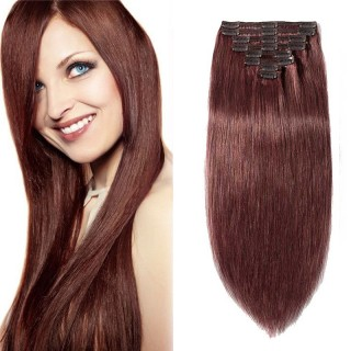 "240g 24"" Clip In Remy Hair Extensions #33 Dark Auburn"
