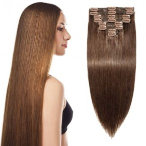 """240g 24"""" Clip In Remy Hair Extensions #4 Medium Brown"""