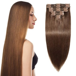 "240g 24"" Clip In Remy Hair Extensions #4 Medium Brown"