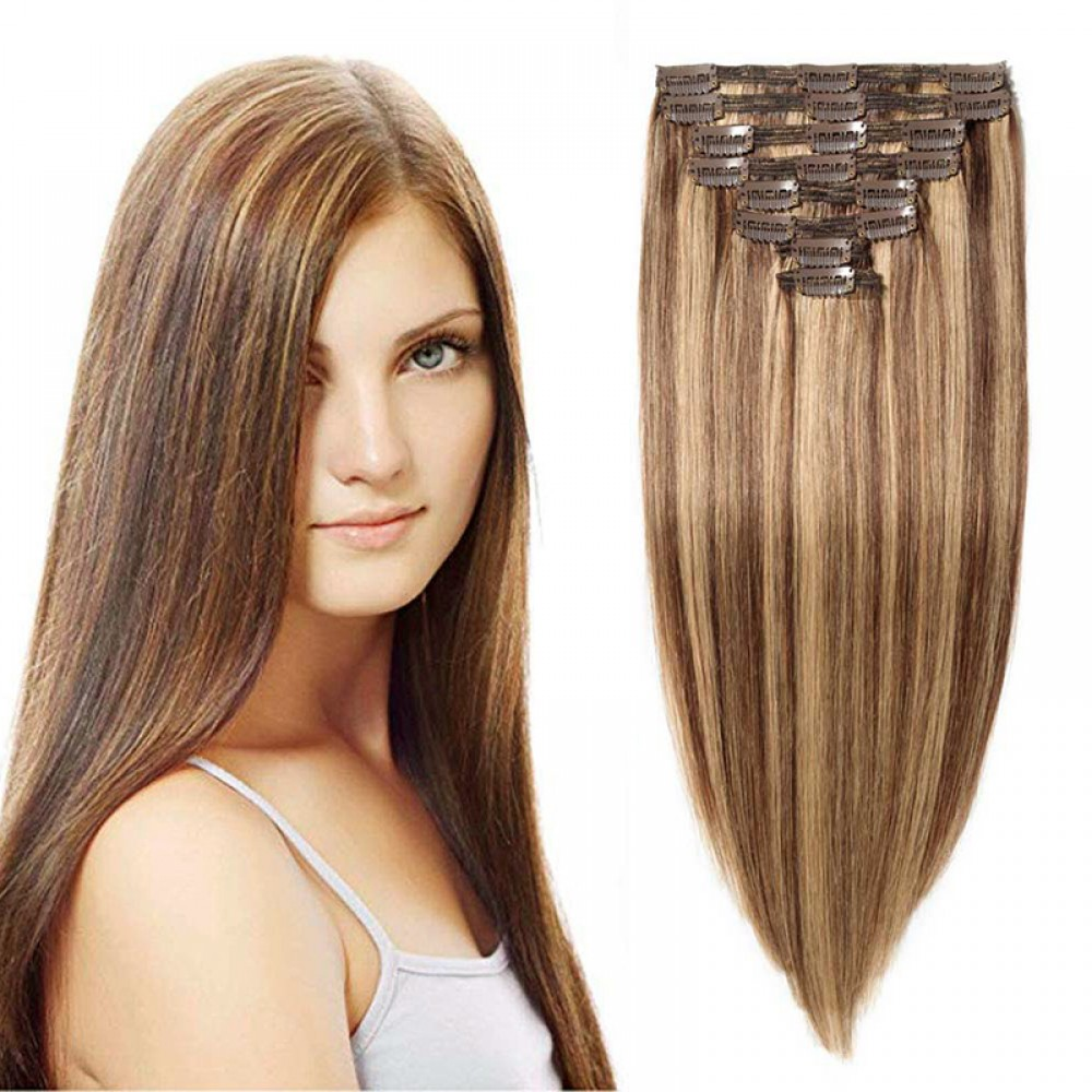 """240g 24"""" Clip In Remy Hair Extensions #4/27"""