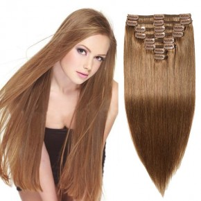 """240g 24"""" Clip In Remy Hair Extensions #6 Light Brown"""