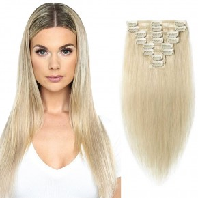 """240g 24"""" Clip In Remy Hair Extensions #60 Platinum Blonde"""