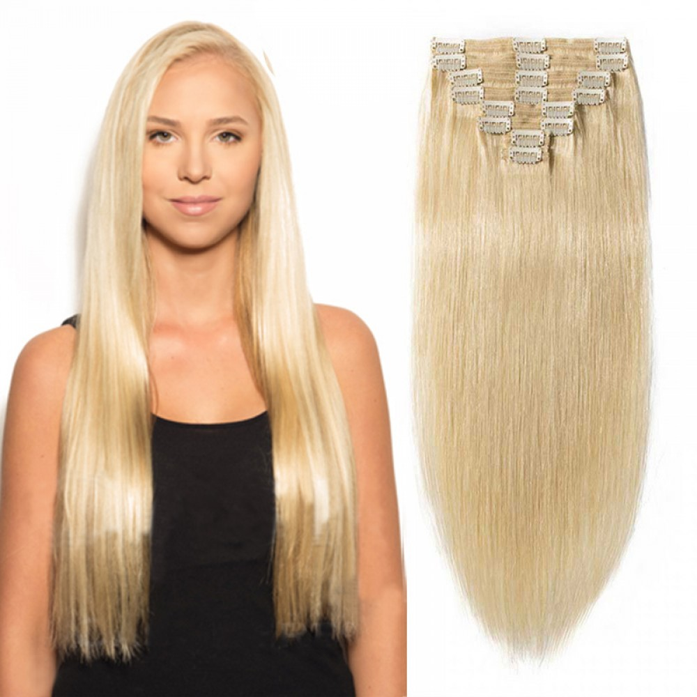 "240g 24"" Clip In Remy Hair Extensions #613 Bleach Blonde"