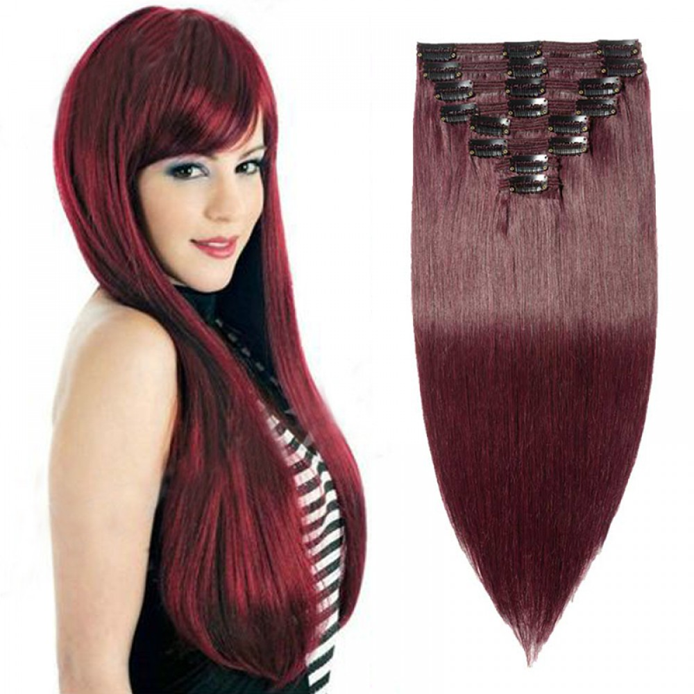 """240g 24"""" Clip In Remy Hair Extensions #99J Wine Red"""