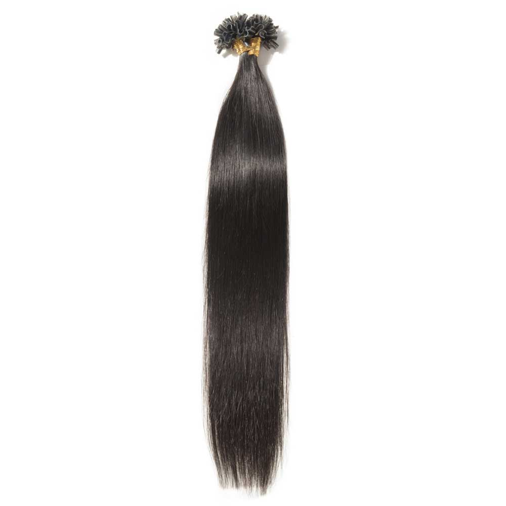 0.5g/s 100s #1B Natural Black Straight U-Tip Hair Extensions