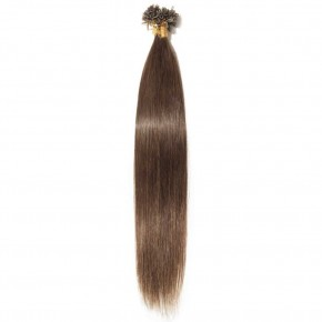 0.5g/s 100s #4 Medium Brown Straight U-Tip Hair Extensions