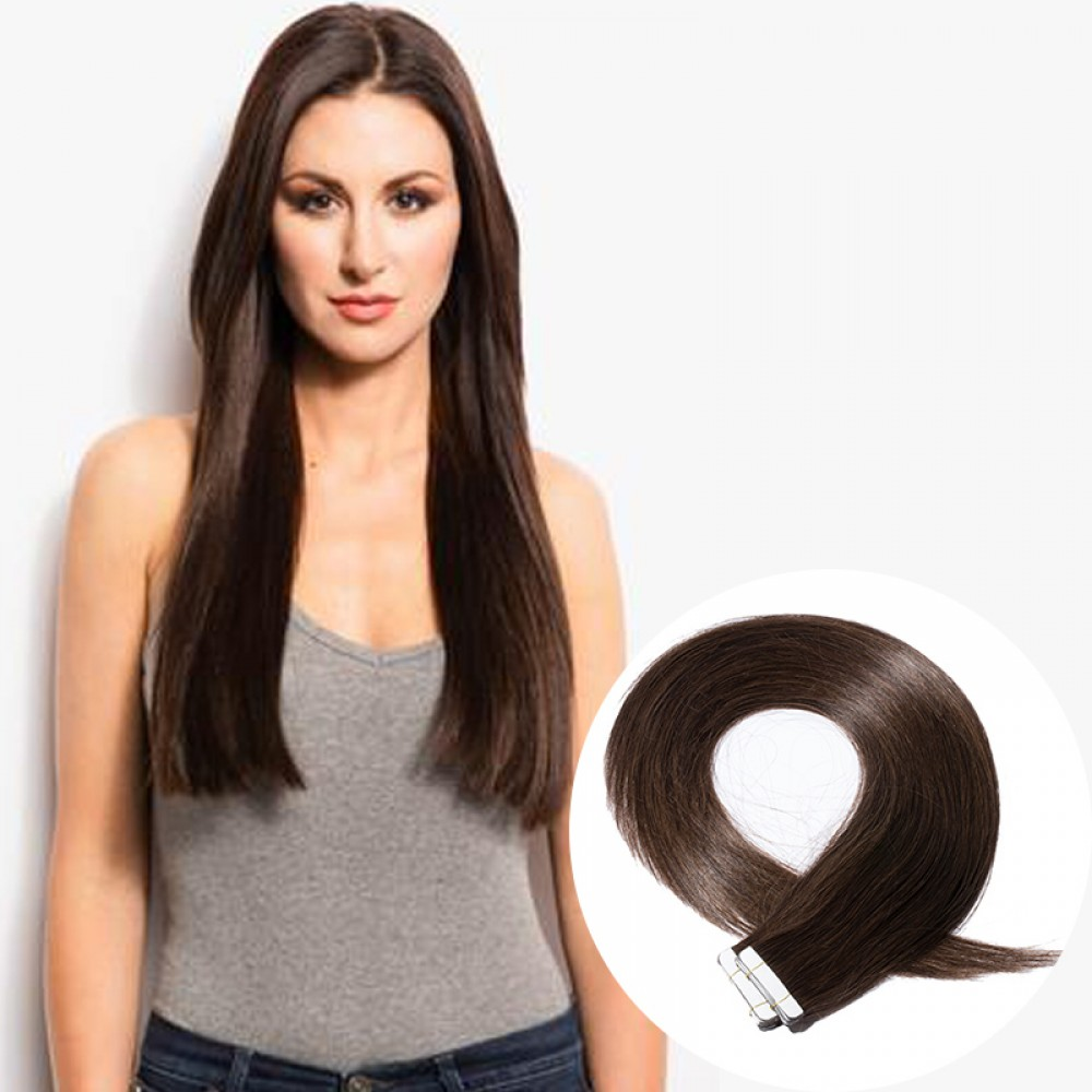 20pcs 2.5g/s #2 Dark Brown Straight Tape In Hair Extensions