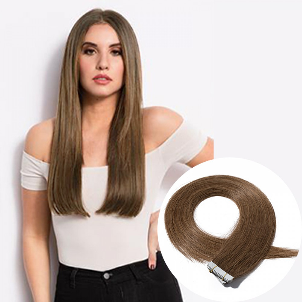 20pcs 2.5g/s #6 Light Brown Straight Tape In Hair Extensions