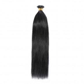50g 0.5g/s #1 Dark Black Straight I-Tip Hair Extensions